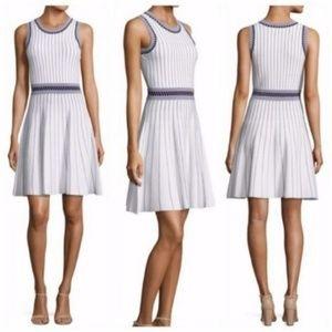 MILLY White Striped Sweater Knit Sleeveless Dress